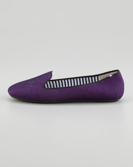 Sheila Twill Smoking Slipper, Violet