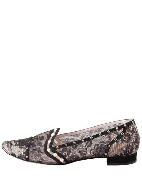 Crystal-Embellished Lace Loafer