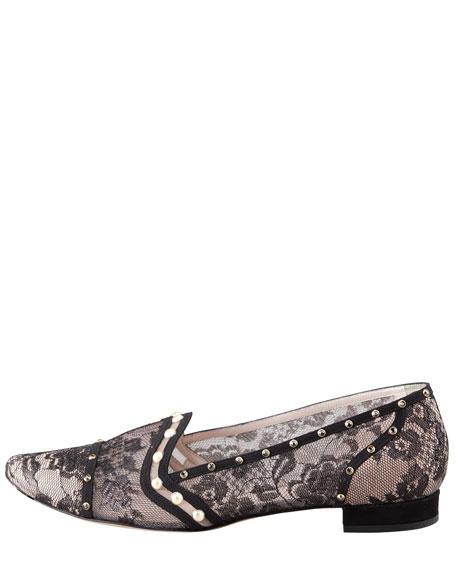 Crystal-Embellished Lace Loafer