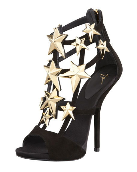 Star-Detail Suede Cage Bootie-Sandal
