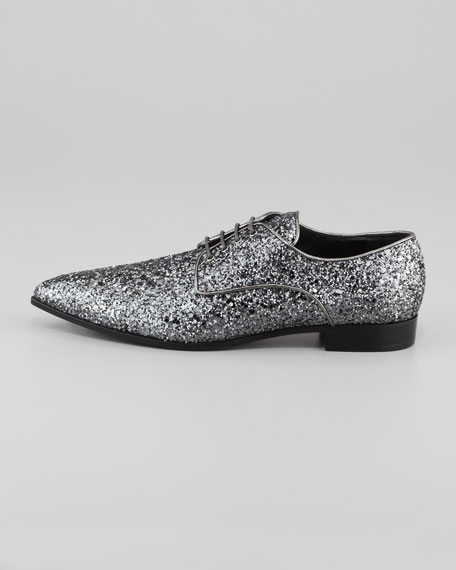 Glittered Pointed-Toe Derby Shoe
