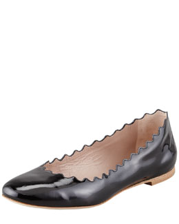 Chloe Scalloped Patent Leather Ballerina Flat, Black