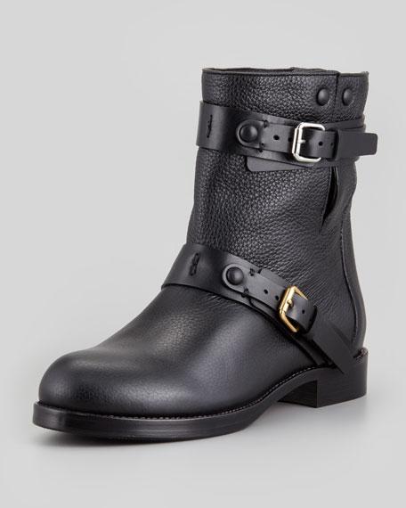 Double-Buckle Moto Boot, Black