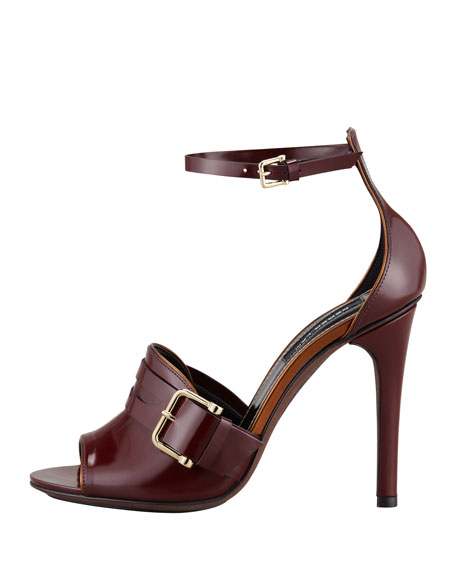 Fara Ankle-Wrap Penny Sandal, Wine