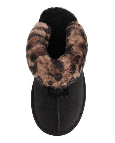 Leopard-Print Mule Shearling Slipper