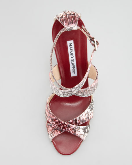 Deliso Crisscross Watersnake Sandal, Pink/Gray
