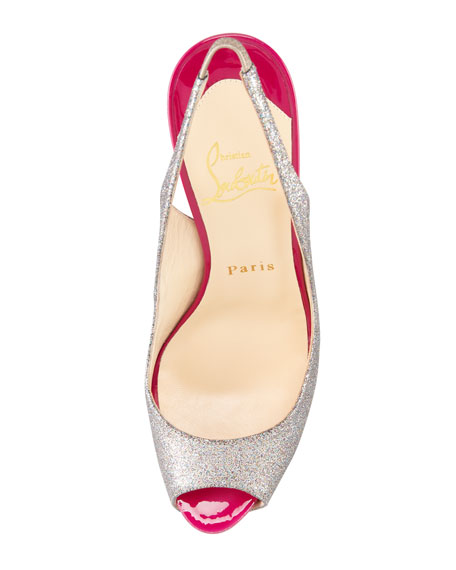 No Prive Glittered Slingback Red Sole Pump, Grenadine