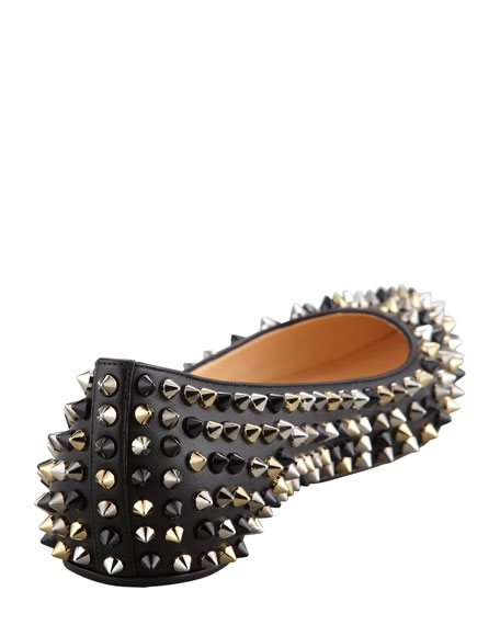 Pigalle Spikes Point Toe Red Sole Flat, Black