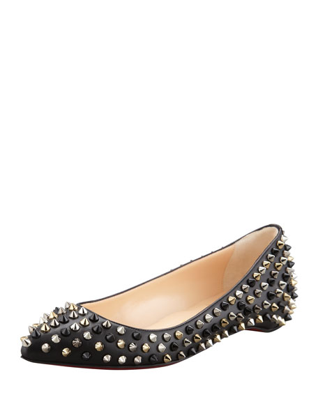 Pigalle Spikes Point-Toe Red Sole Flat, Black