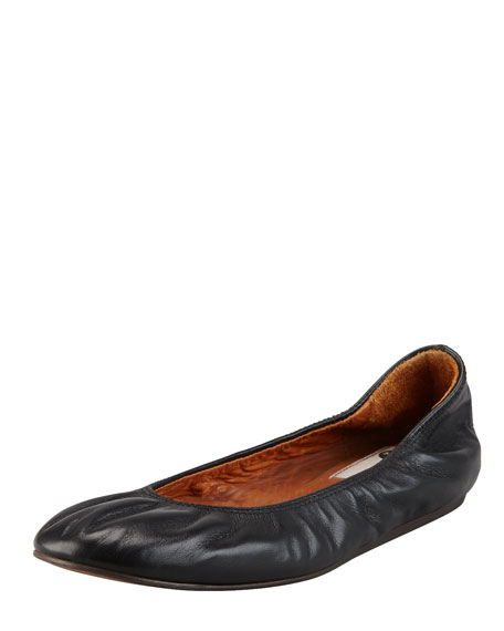 LanvinScrunched Leather Classic Ballerina Flat, Black