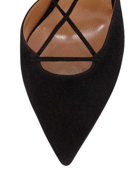 Belgravia Lattice Suede Sandals, Black