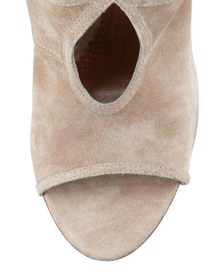Aquazzura Sexy Thing Suede Cutout Sandal, Nude