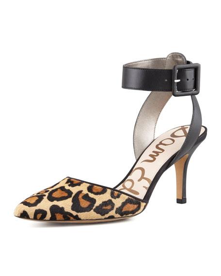 Okala Leopard-Print Ankle-Wrap Pump