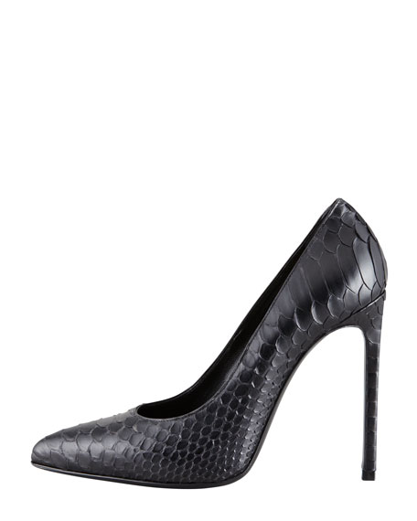 Paris Python Pointed-Toe Pump, Black