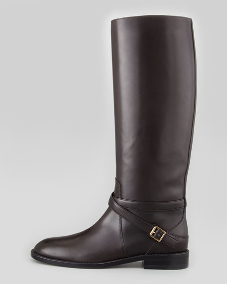 Tall Buckled Riding Boot, Chocolate