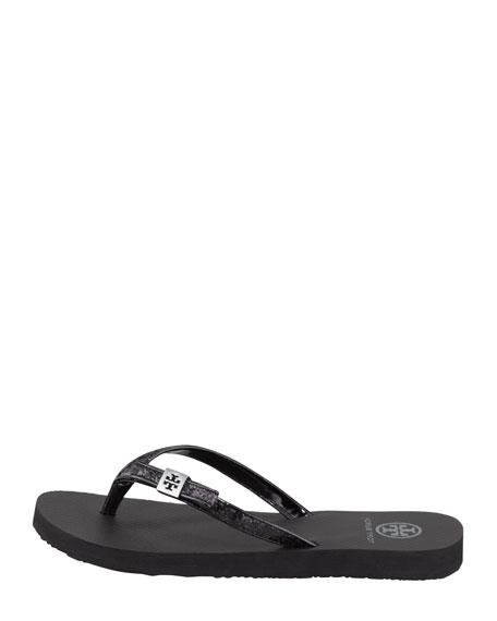 Carey Glitter Flip-Flop, Black