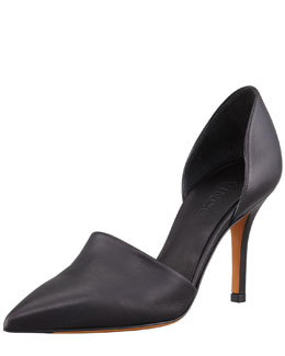 Vince Claire Two-Piece Leather Pump, Black