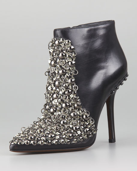Beacon Jeweled Leather Bootie