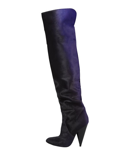 Ombre Calf Hair Over-the-Knee Boot