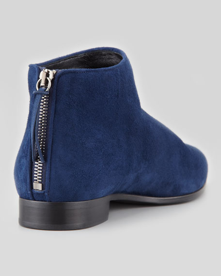 Suede Point-Toe Flat Ankle Boot, Blue