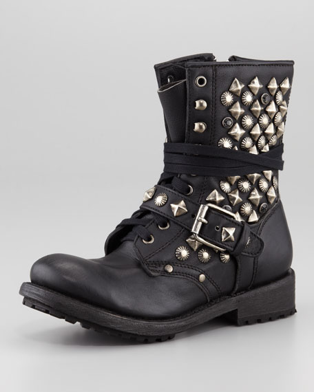 Ryanna Studded Boot, Black