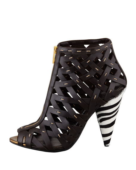 Hand-Stitched Lattice Leather Bootie