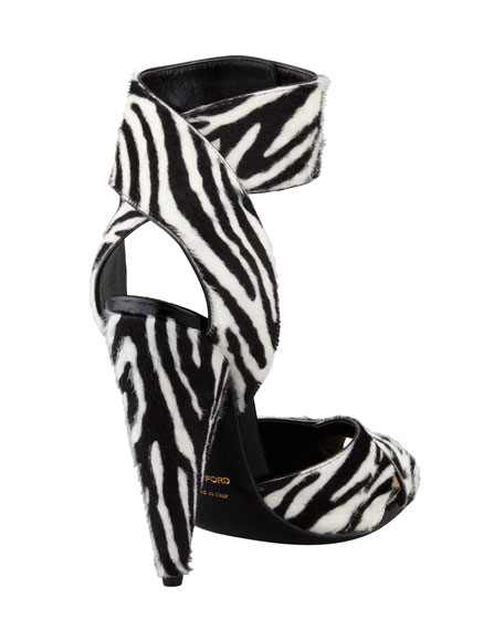 Tom Ford Zebra-Print Pin-Detail Ankle-Strap Sandal