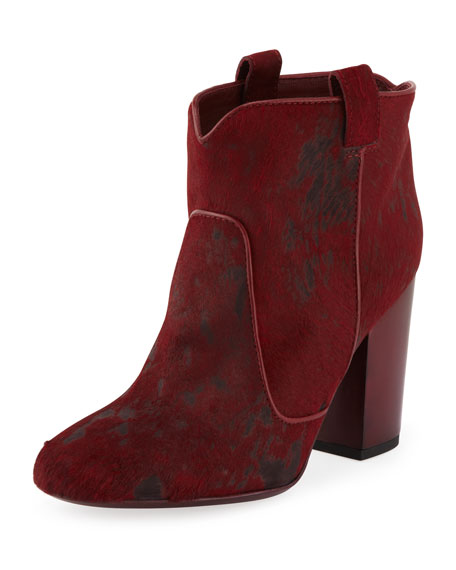 Pete Calf Hair Ankle Boot, Red