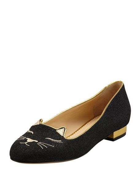 Charlotte Olympia Sleeping Kitty Embroidered Suede Slipper, Black