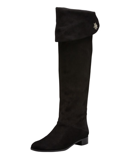 Charming Pull-On Flat Boot with Spider