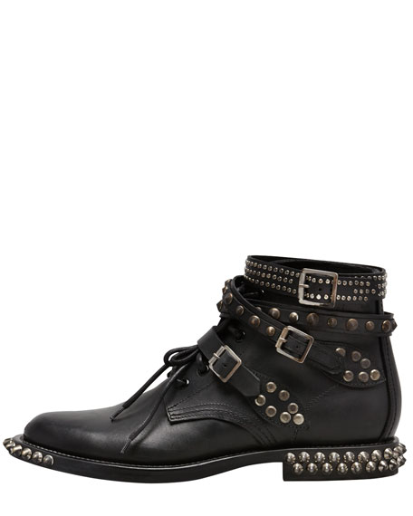 Studded Low Motorcycle Bootie, Black
