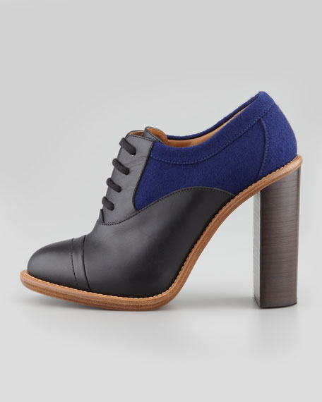 Stacked Heel Lace-Up Oxford, Black/Blue