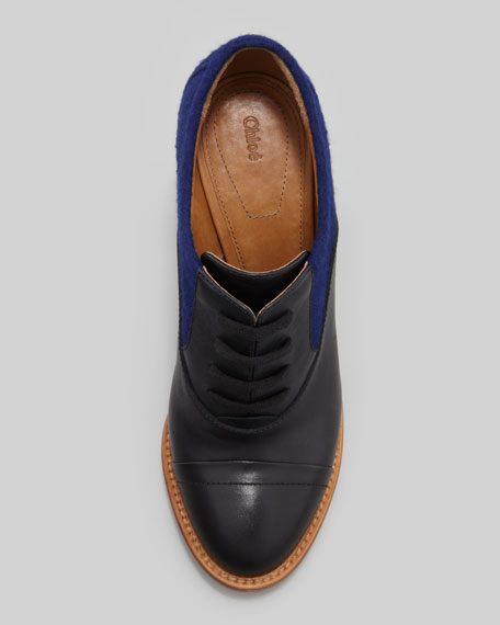 Chloe Stacked Heel Lace-Up Oxford, Black/Blue
