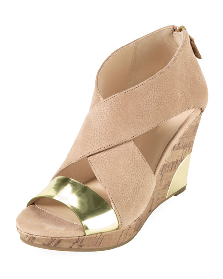 Irving Nubuck Wedge Sandal, Sandstone/Gold