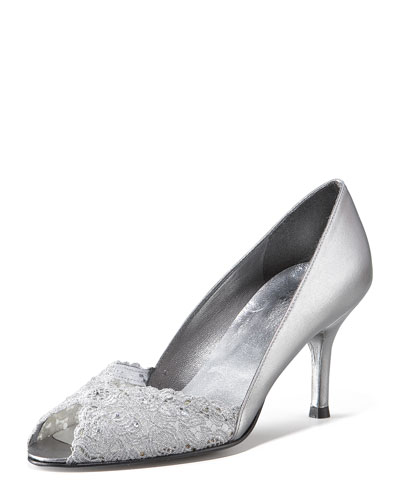 Chantilly Lace Peep-Toe Pump, Aluminum