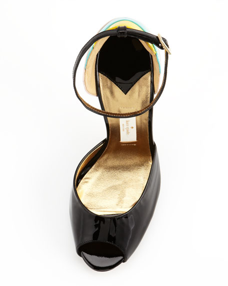 ice cream cone heel sandal, black
