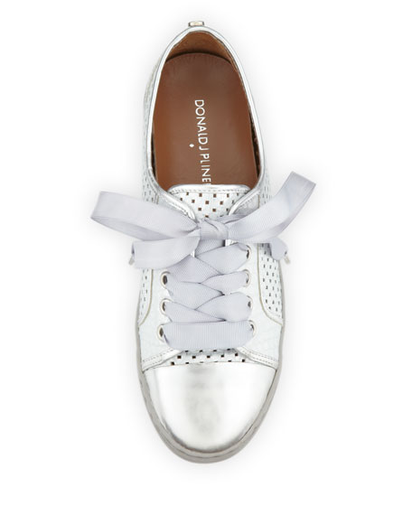 Maxi Metallic Lace Up Sneaker Silver