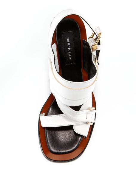 Gillis Calf-Hair-Wedge Sandal, White/Black