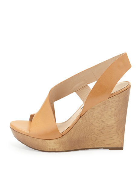 Sunny Cutaway Leather Wedge, Natural