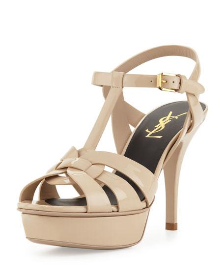 Saint Laurent Tribute Mid-Heel Patent Platform Sandal, Nude