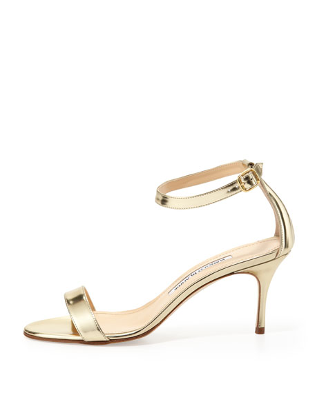 Chaos Metallic Ankle-Wrap Sandal, Gold