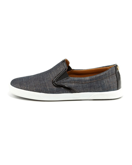 Demi Metallic Denim Skater Slip-On