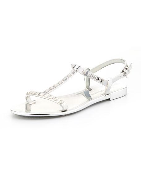 Petra Studded Jelly Sandal, Silver