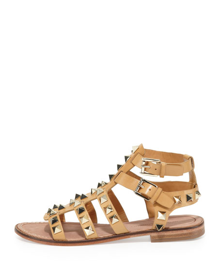 Sage Studded Gladiator Sandal, Nude