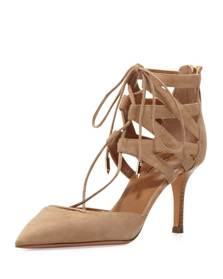 Aquazzura Belgravia Lattice Suede Sandal, Nude