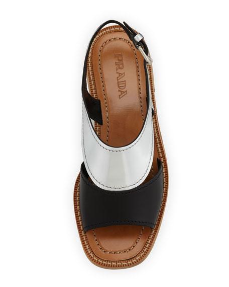 Metallic Bicolor Low-Heel Sandal, Black/Silver