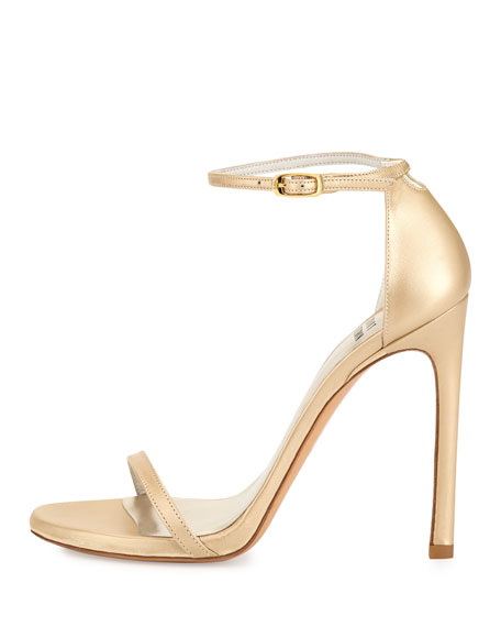 Image 3 of 4: Nudist Ankle-Strap Sandal, Pale Gold