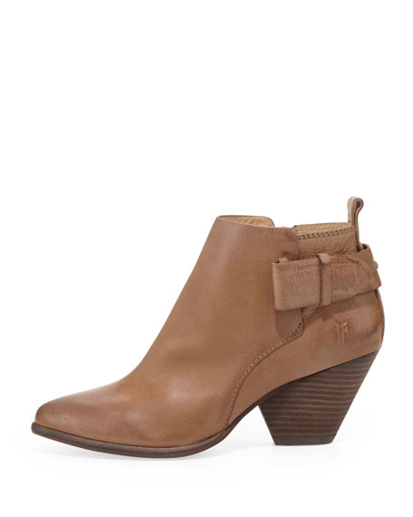 Reina Belted Leather Bootie, Taupe
