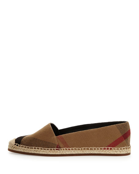 Burberry Hodgeson Check Canvas Flat Espadrille, Classic Check