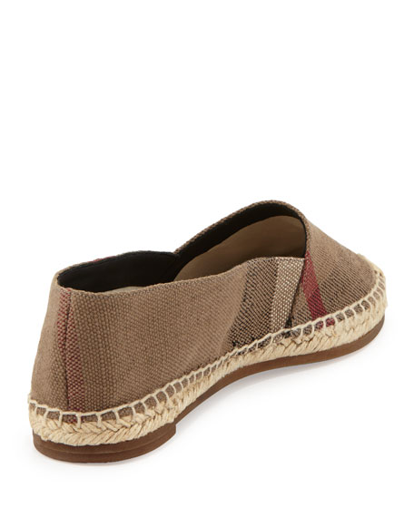 Hodgeson Check Canvas Flat Espadrille, Classic Check